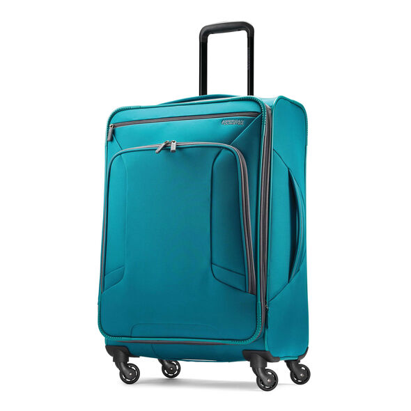 """American Tourister 4 Kix 25"""" Spinner in the color Teal/Grey."""