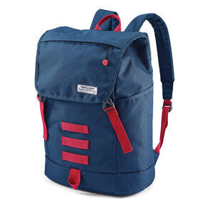 American Tourister Side Step Backpack in the color Navy/Red.