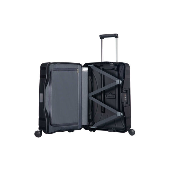"American Tourister Lock-N-Roll 20"" Spinner in the color Jet Black."