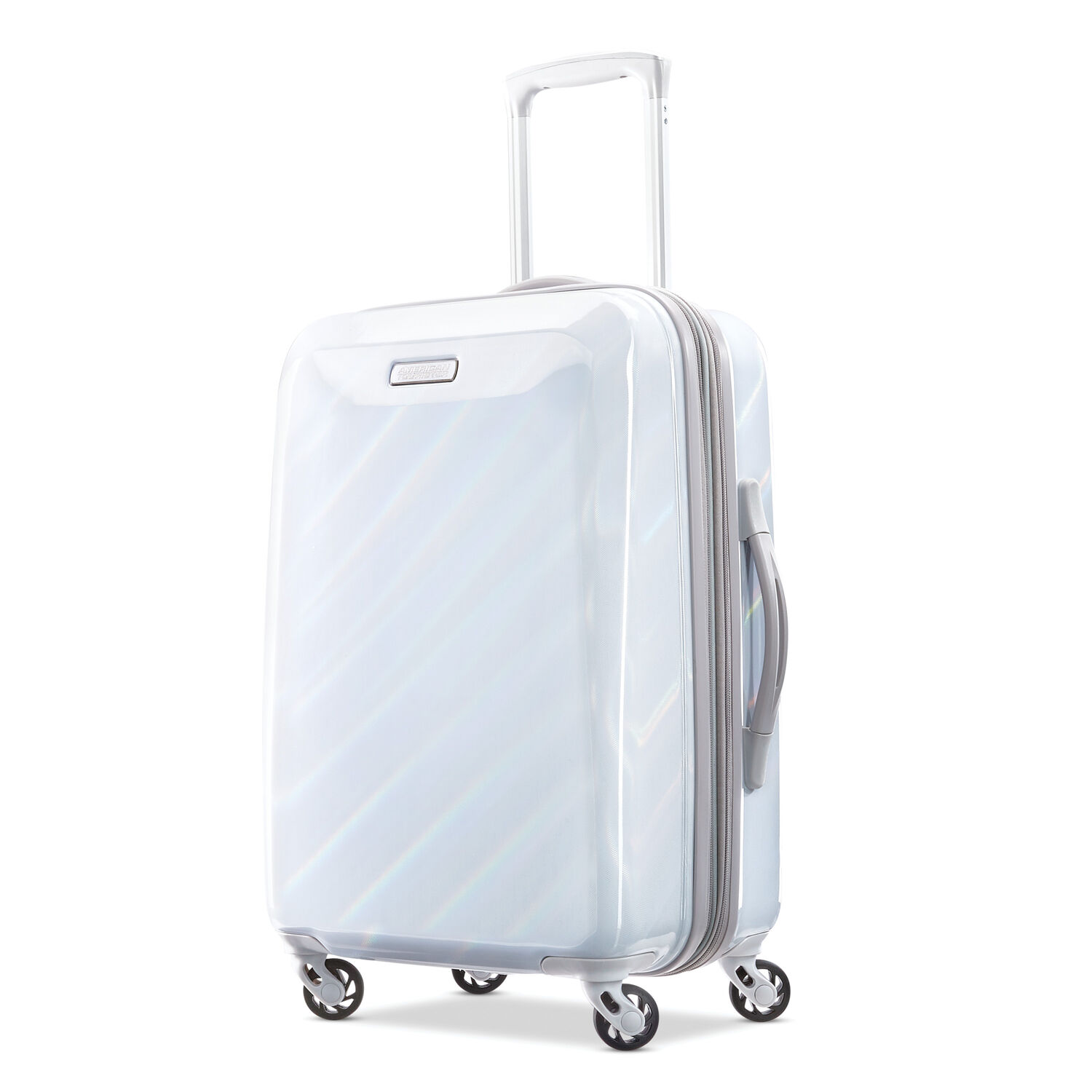 """American Tourister Moonlight 21"""" Spinner in the color Iridescent White."""
