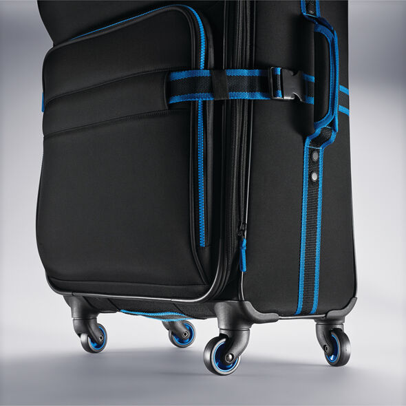 "American Tourister EXO Eclipse 20"" Spinner in the color Black/Blue."