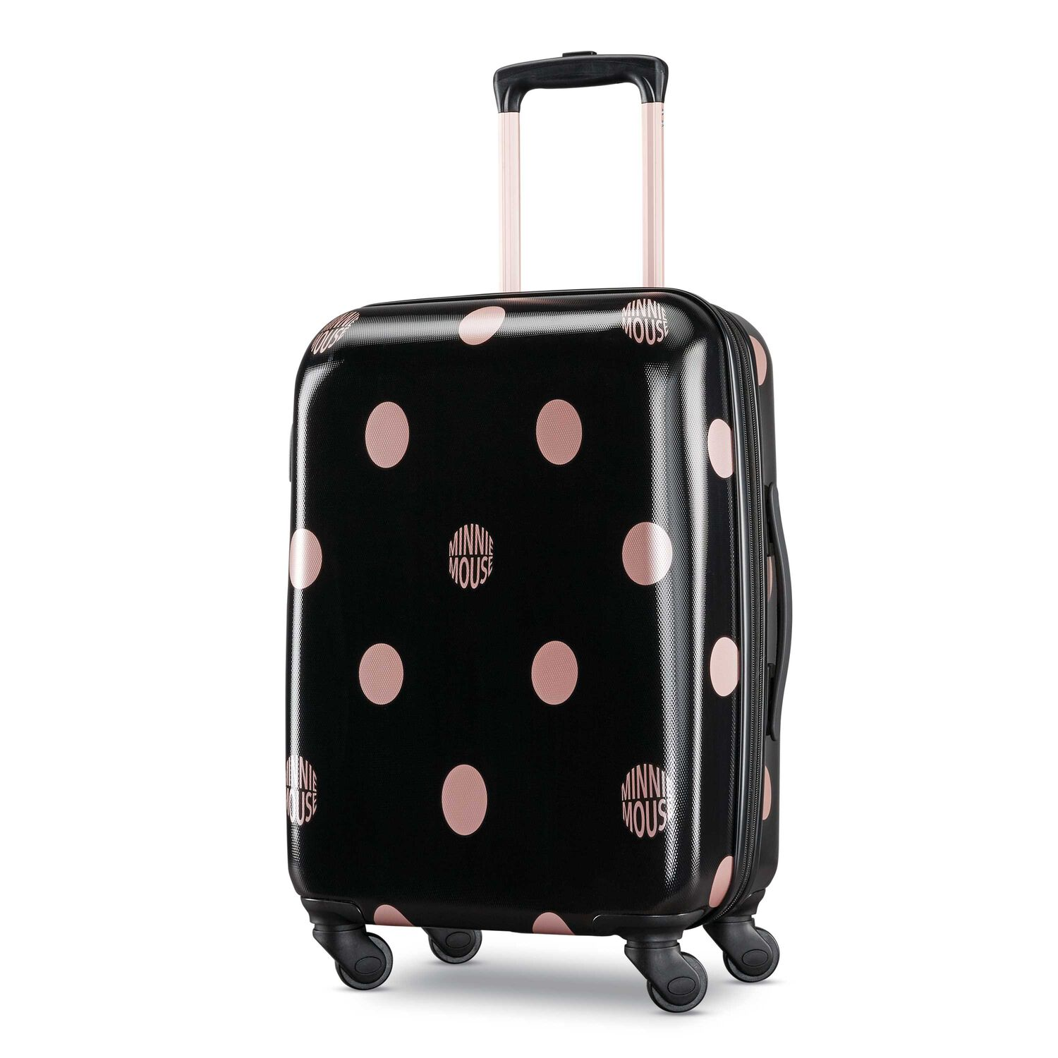 """American Tourister Disney Minnie Lux Dots 21"""" Spinner in the color Black Dots."""