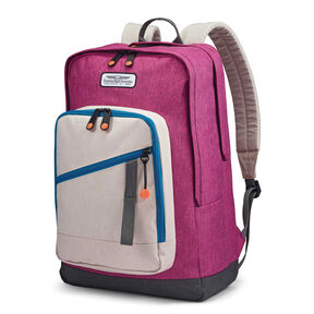American Tourister Keystone Backpack in the color Purple/Beige/Blue.