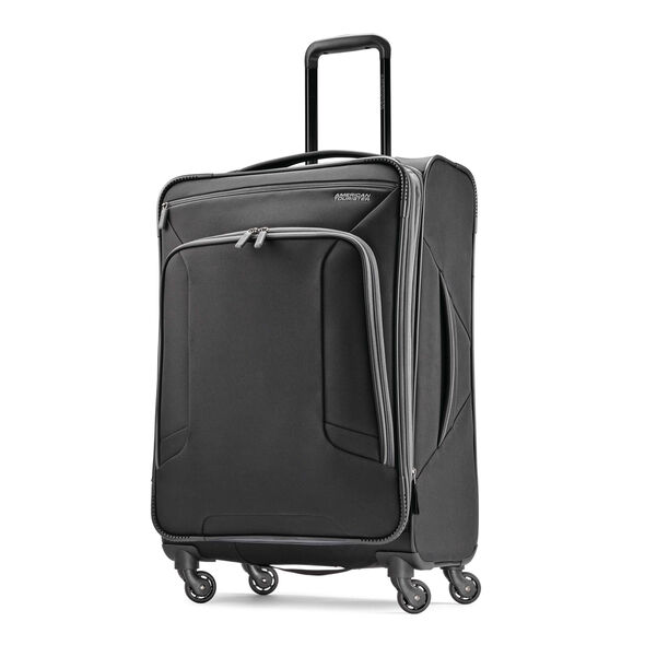 "American Tourister 4 Kix 25"" Spinner in the color Black/Grey."
