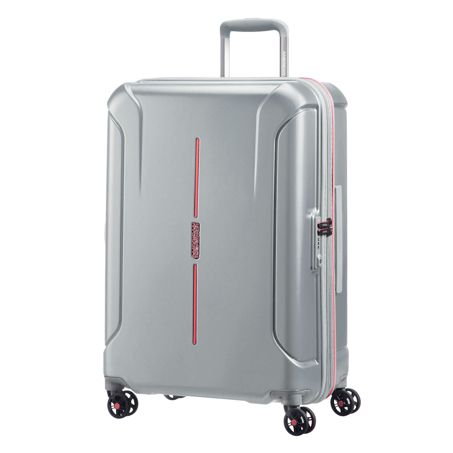 """American Tourister Technum 24"""" Spinner in the color Grey/Red."""