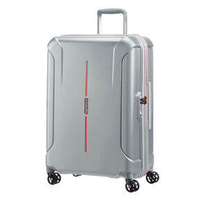 "American Tourister Technum 24"" Spinner in the color Grey/Red."