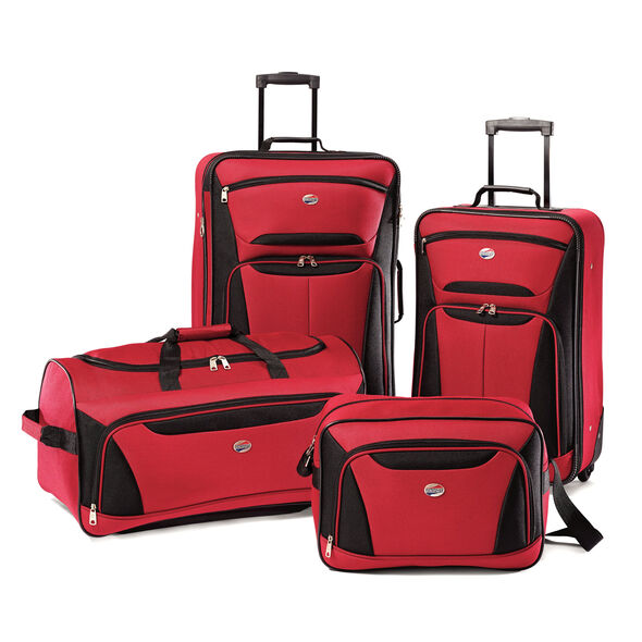 American Tourister Fieldbrook II 4 Piece Set in the color Red/Black.