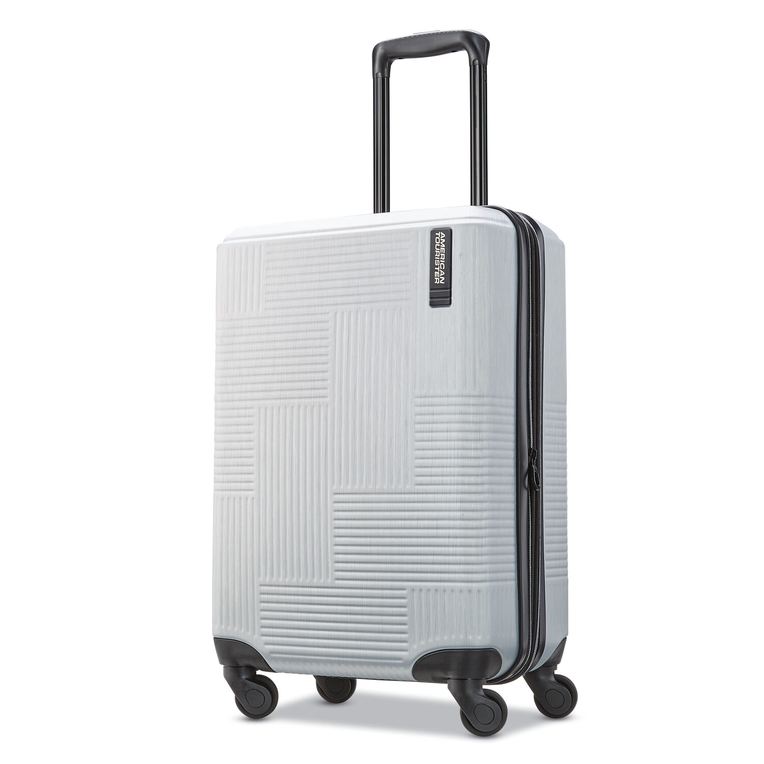 """American Tourister Stratum XLT 20"""" Spinner in the color Brushed Silver."""