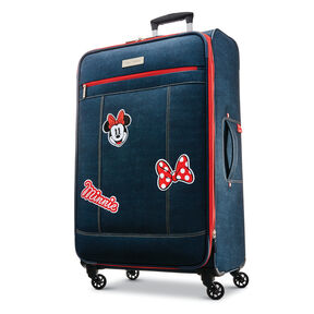 "American Tourister Disney MM Denim Krush 28"" Spinner in the color Dark Denim."