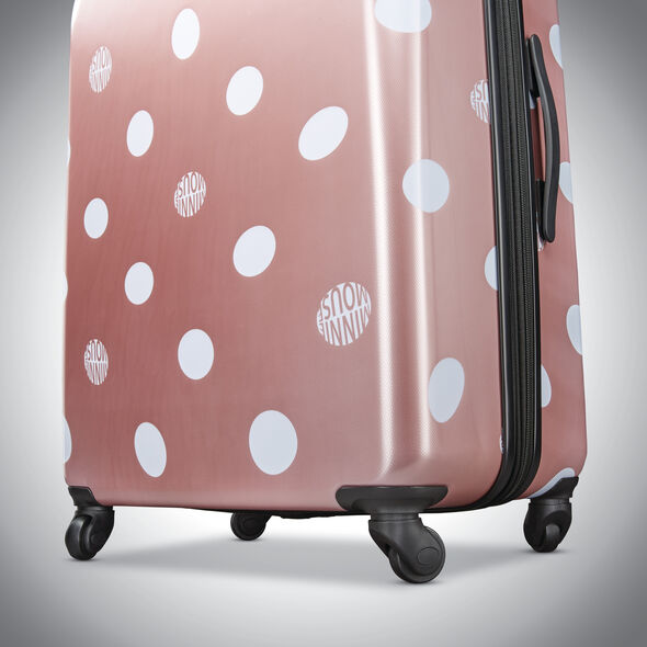 "American Tourister Disney Minnie Lux Dots 21"" Spinner in the color Bronze Print."