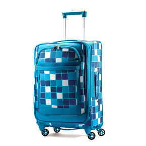 """American Tourister iLite Max 21"""" Spinner in the color Light Blue Squares."""