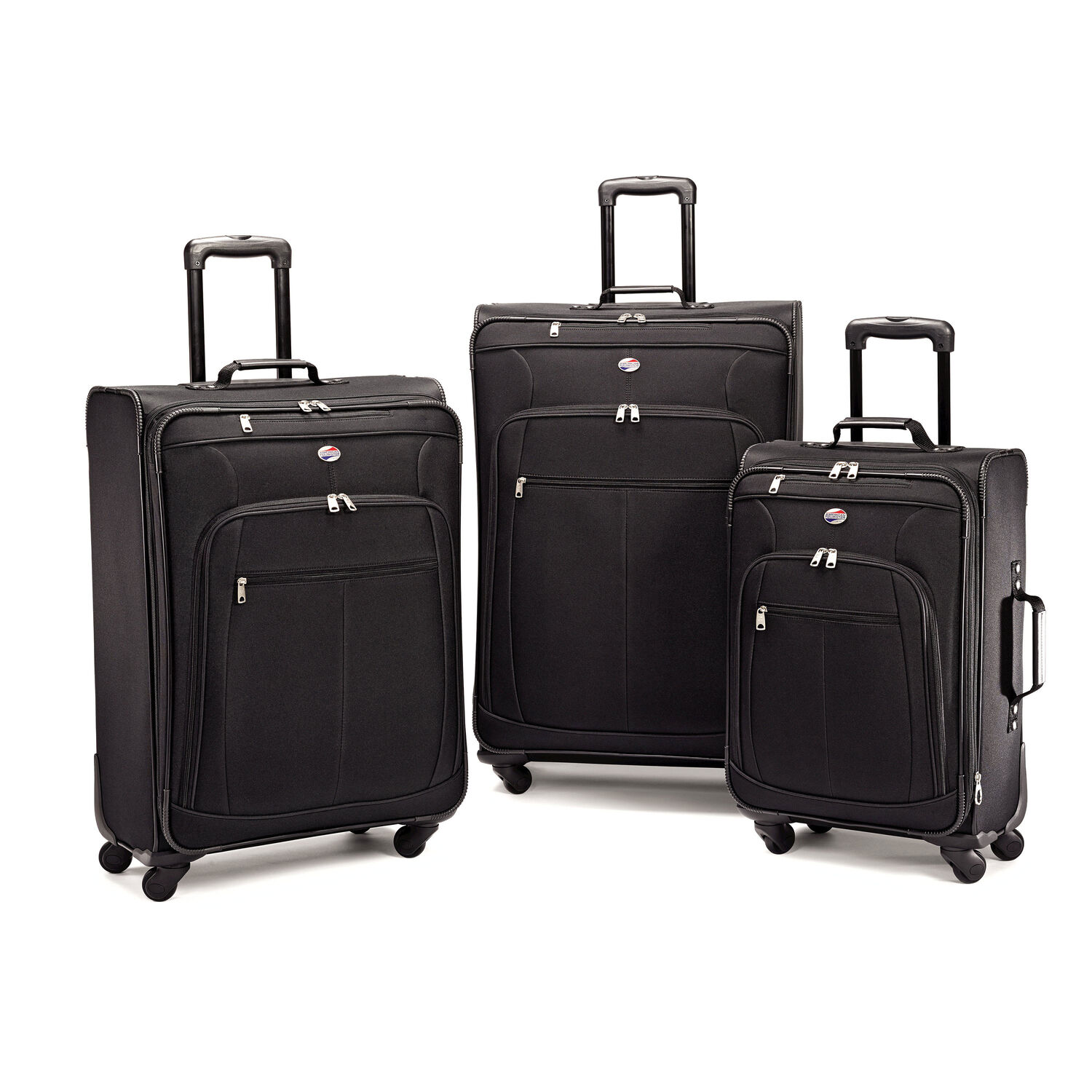 American Tourister Pop Plus 3 Piece Set in the color Black. cd5eb349d0ebe