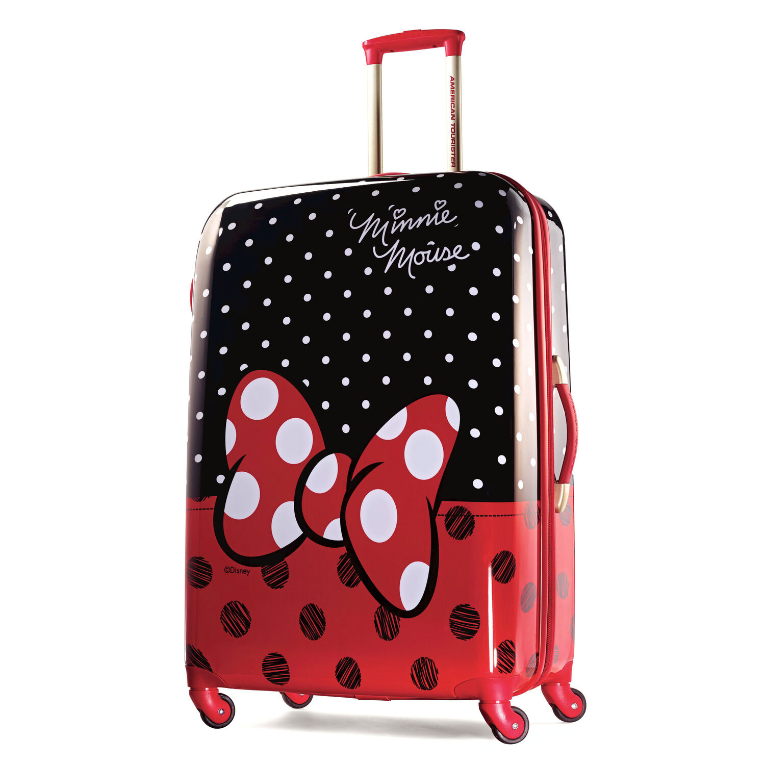 """American Tourister Disney Minnie Mouse 28"""" Hardside Spinner in the color Minnie Mouse Red Bow."""