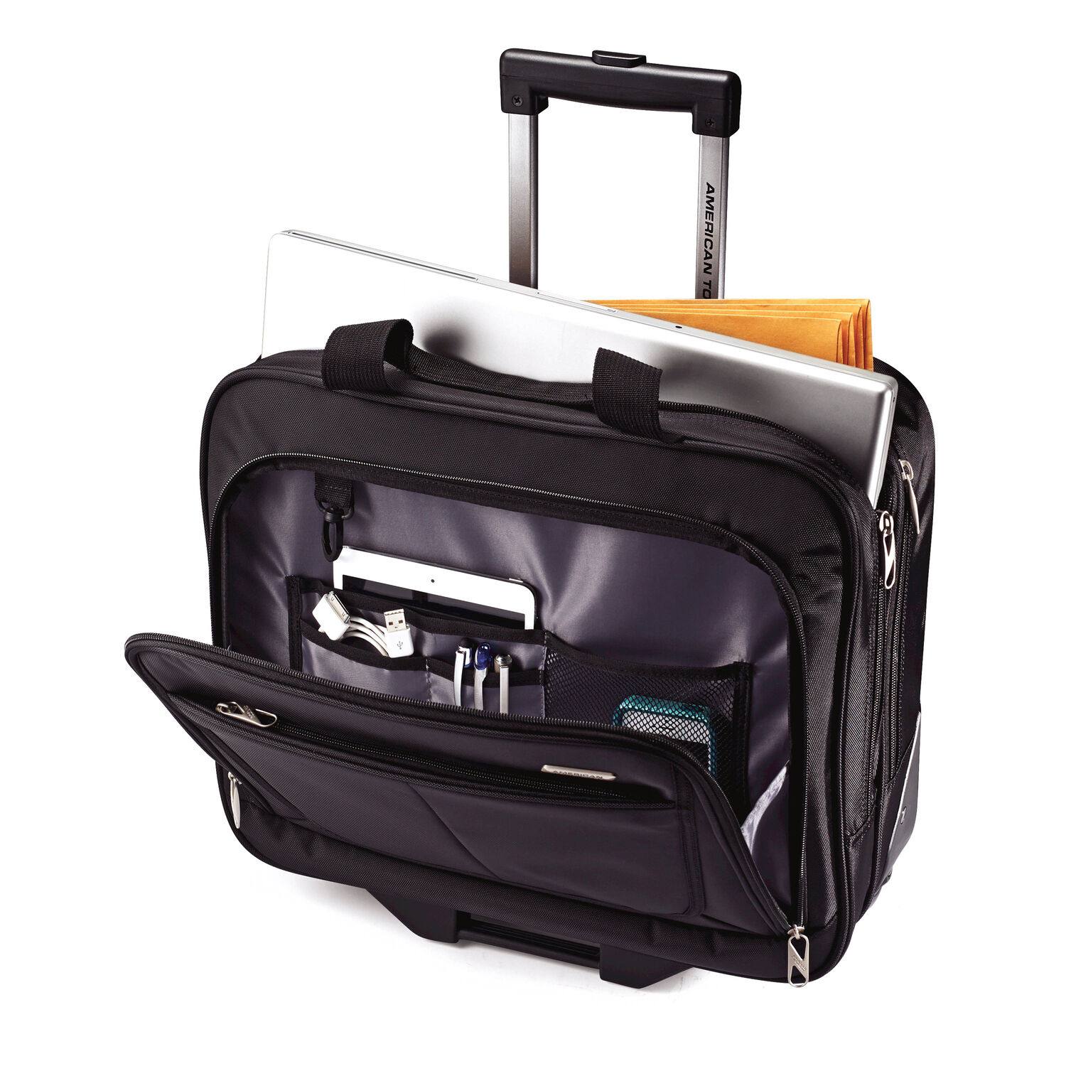 American Tourister Wheeled Mobile Office In The Color Black