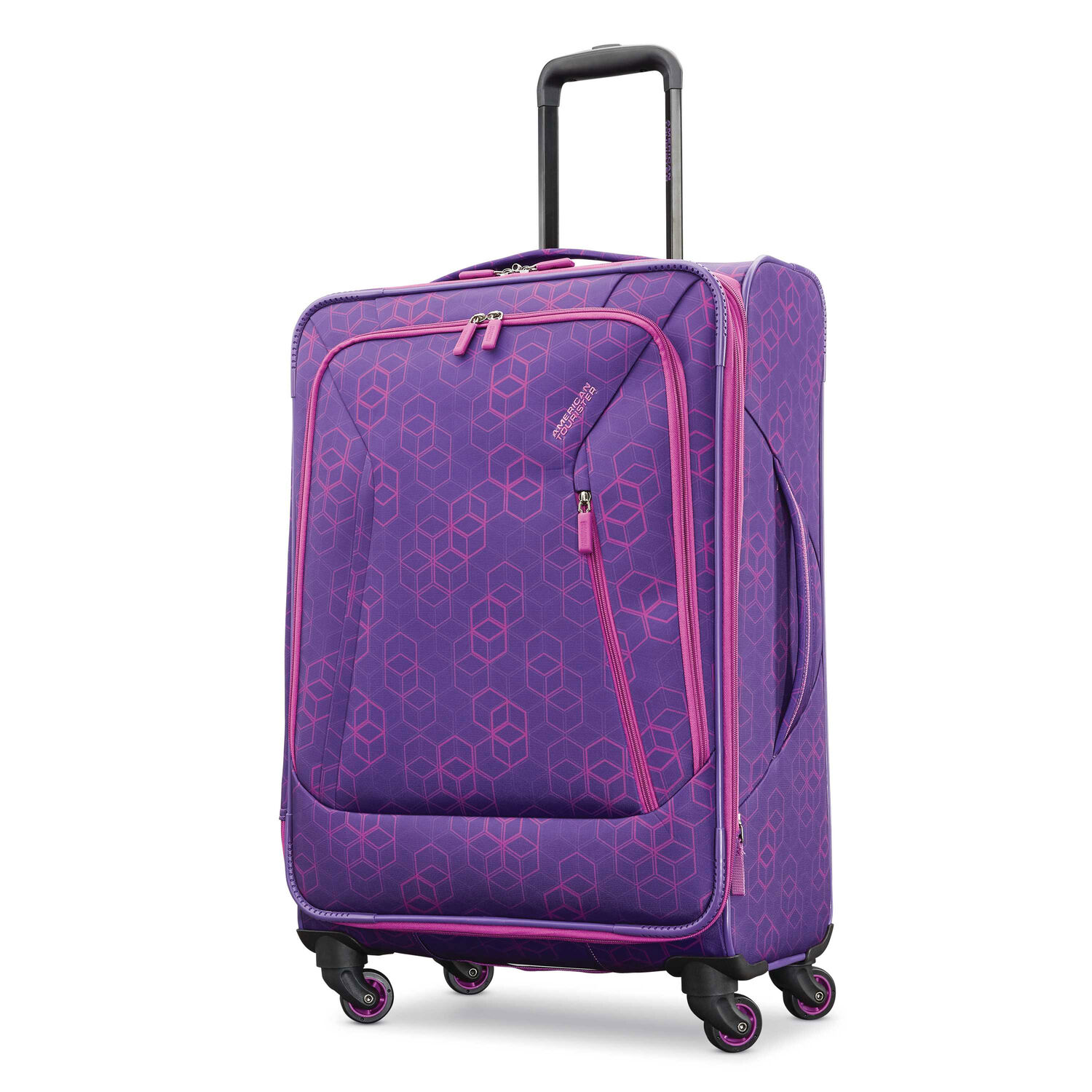 """American Tourister Sonic 25"""" Spinner in the color Purple Print."""
