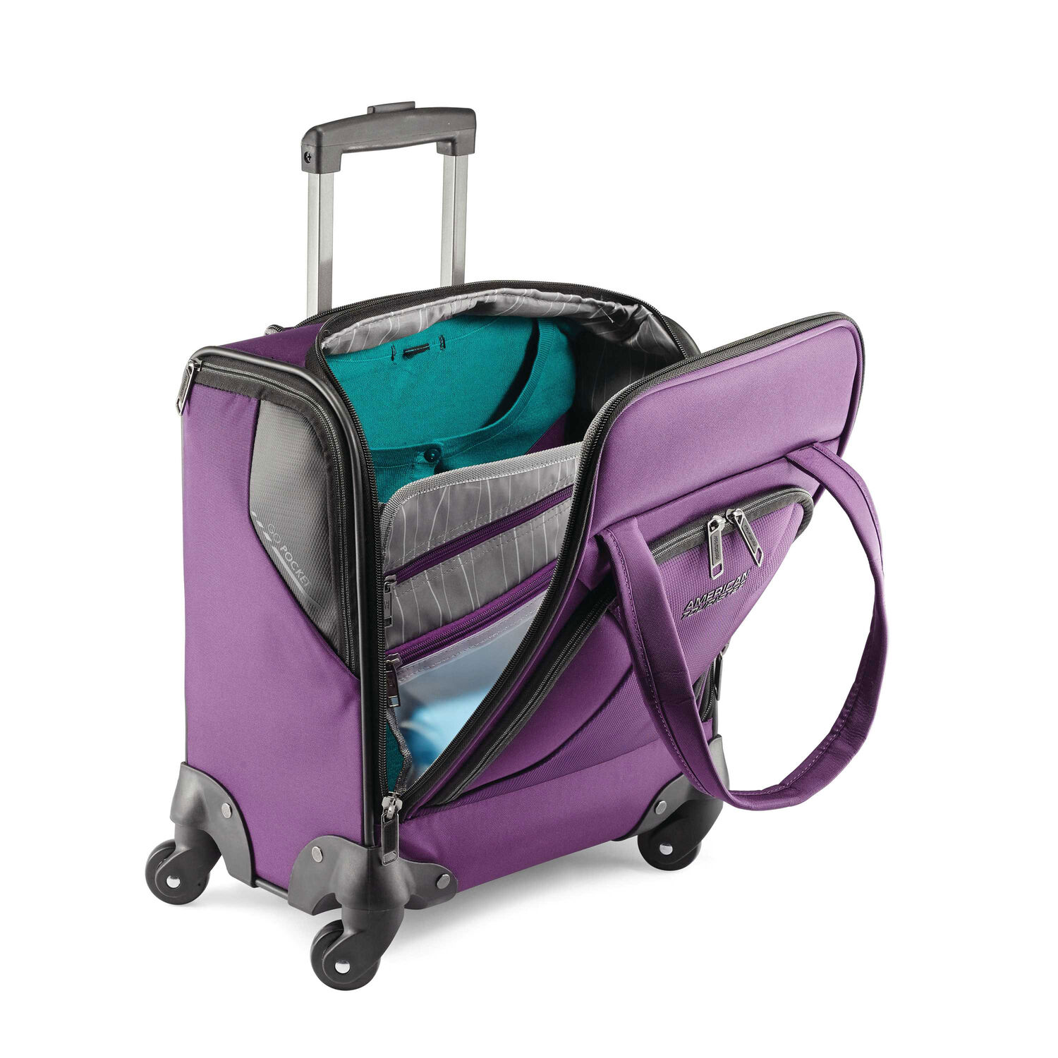 92beacc7a29 American Tourister Zoom Underseater Spinner Tote in the color Purple.