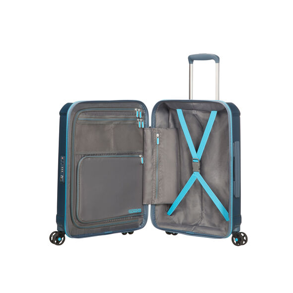 "American Tourister Technum 20"" Spinner in the color Metallic Blue."