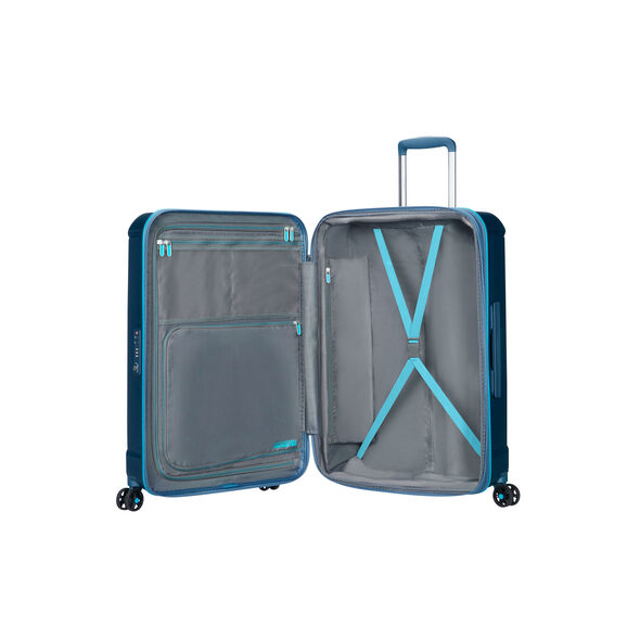 """American Tourister Technum 24"""" Spinner in the color Metallic Blue."""