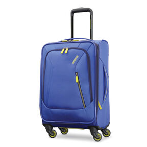 "American Tourister Sonic 21"" Spinner in the color Blue/Lime."