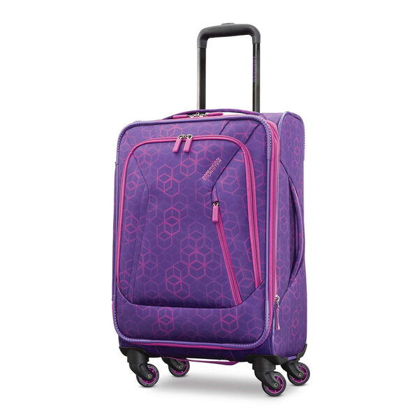 """American Tourister Sonic 21"""" Spinner in the color Purple Print."""