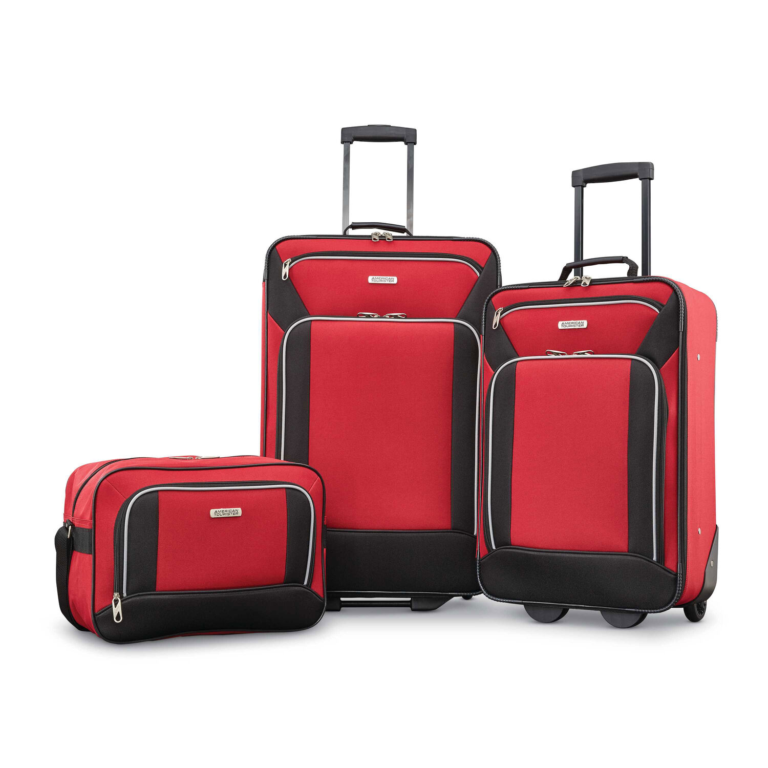 029889a85f2 American Tourister Fieldbrook XLT 3 Piece Set in the color Red Black.