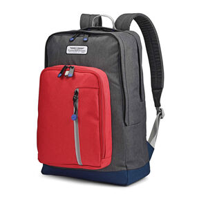American Tourister Keystone Backpack in the color Grey/Red/Navy.