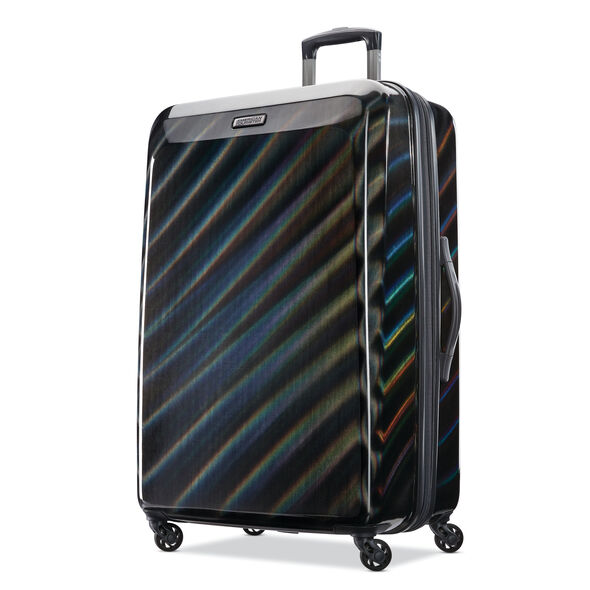 "American Tourister Moonlight 28"" Spinner in the color Iridescent Black."