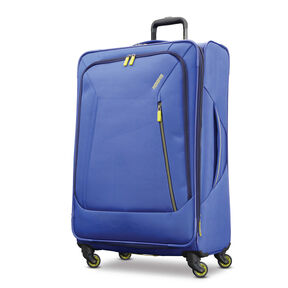 "American Tourister Sonic 28"" Spinner in the color Blue/Lime."