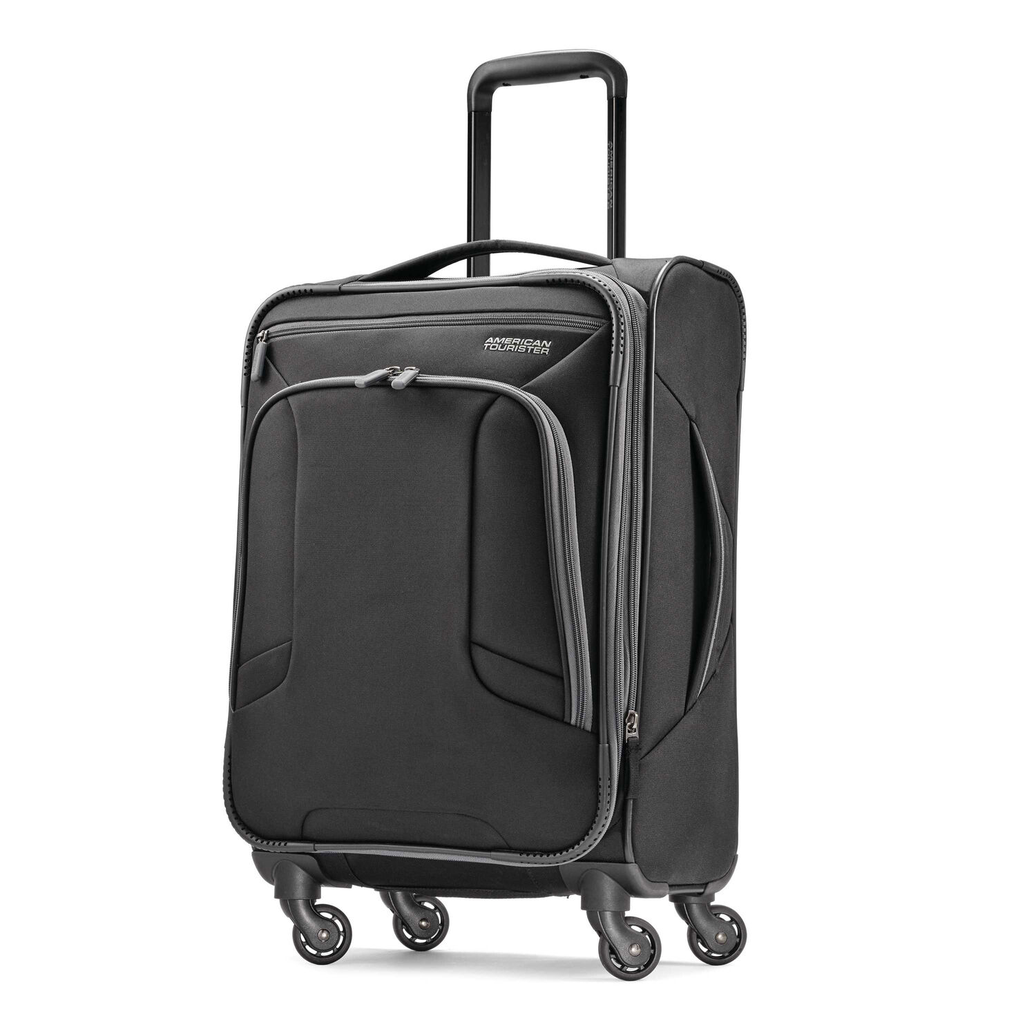 """American Tourister 4 Kix 21"""" Spinner in the color Black/Grey."""