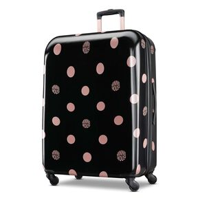 "American Tourister Disney Minnie Lux Dots 28"" Spinner in the color Black Dots."