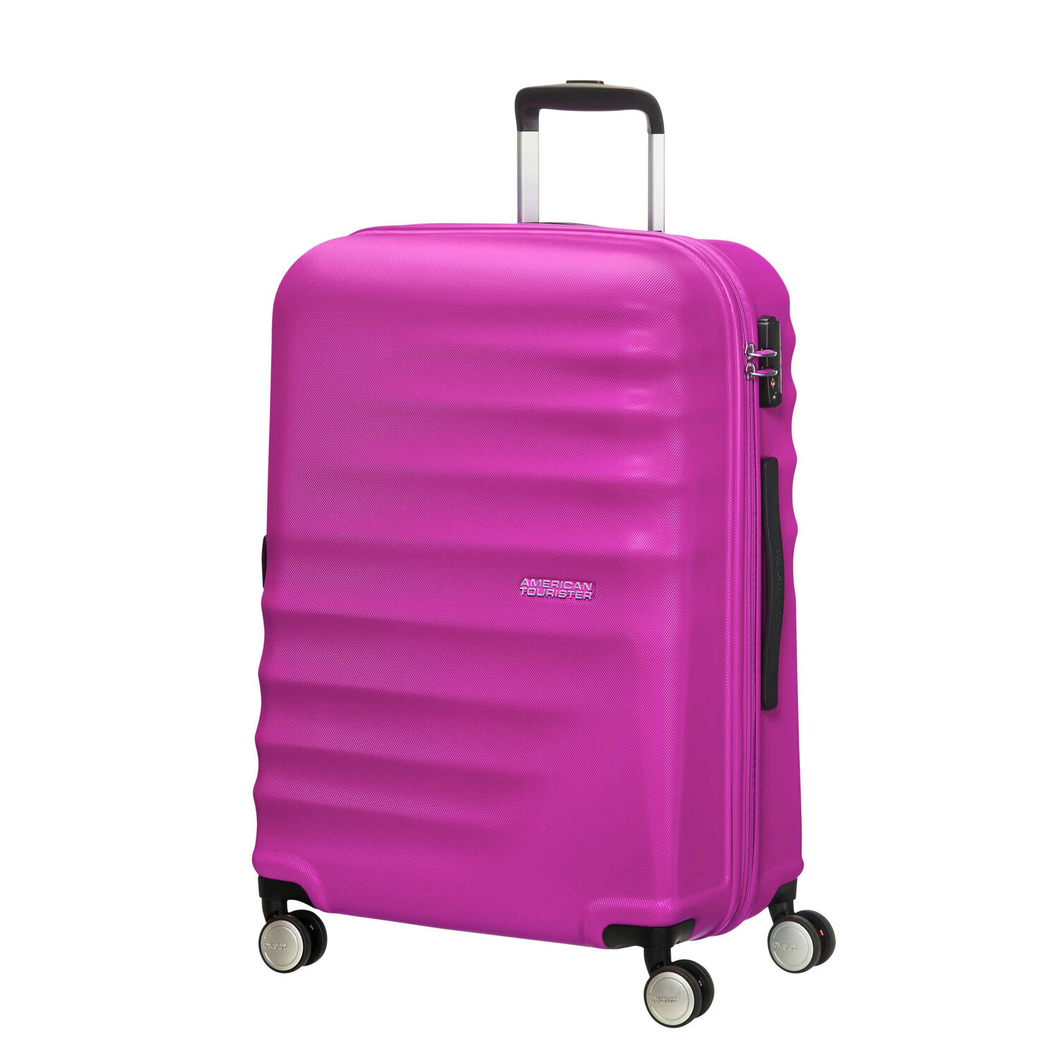 """American Tourister Wavebreaker 28"""" Spinner in the color Hot Lips Pink."""