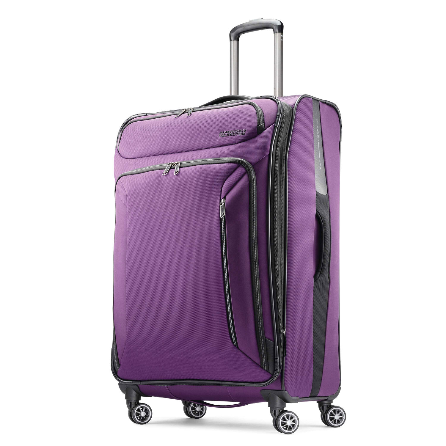 """American Tourister Zoom 28"""" Spinner in the color Purple."""