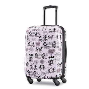 "American Tourister Disney Mickey & Minnie Romance 20"" Spinner in the color Mickey/Minnie Kiss."