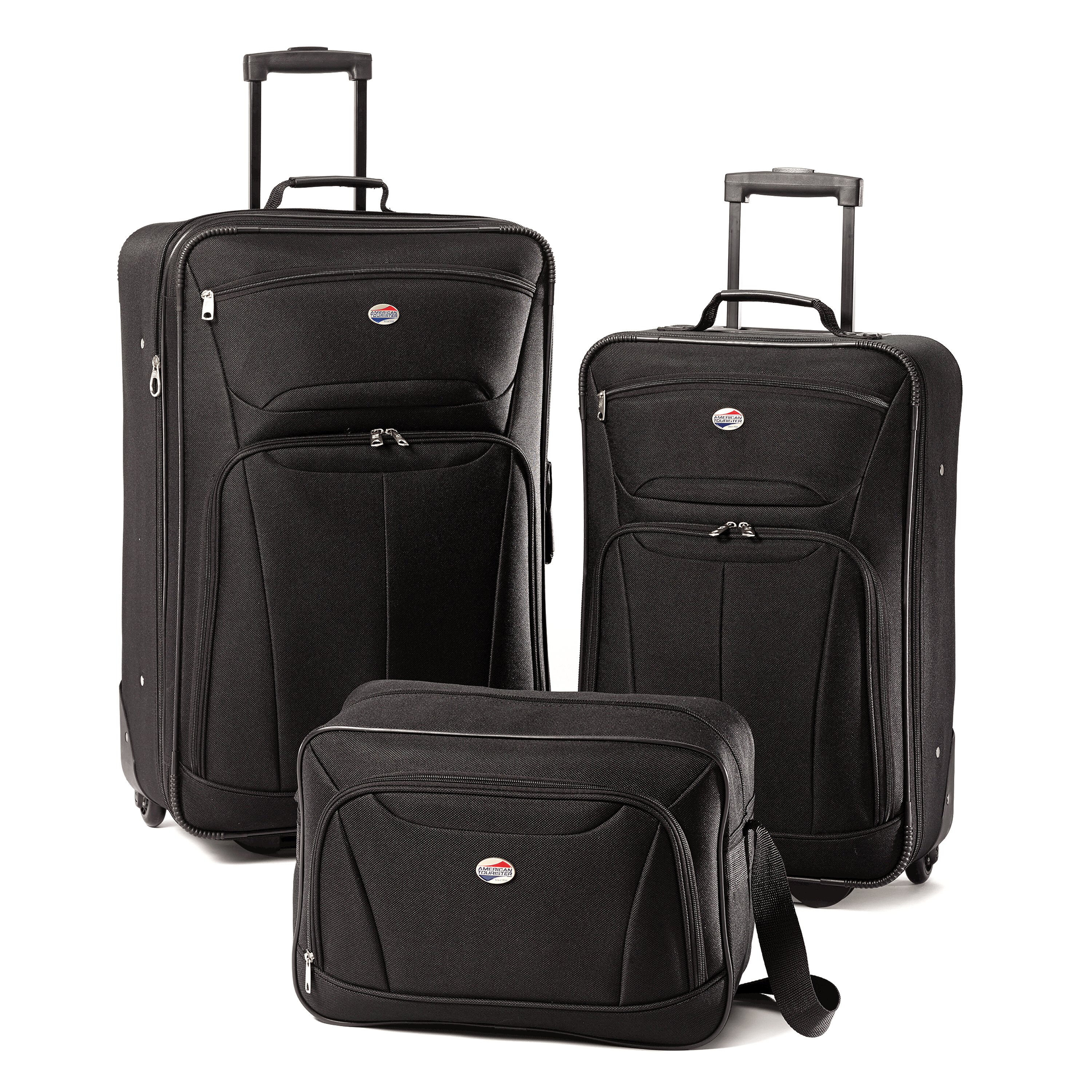 American tourister pop 3 piece spinner set black