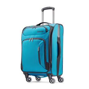 "American Tourister Zoom 21"" Spinner in the color Teal Blue."
