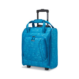 Rolling Tote in the color Teal Marks Print.