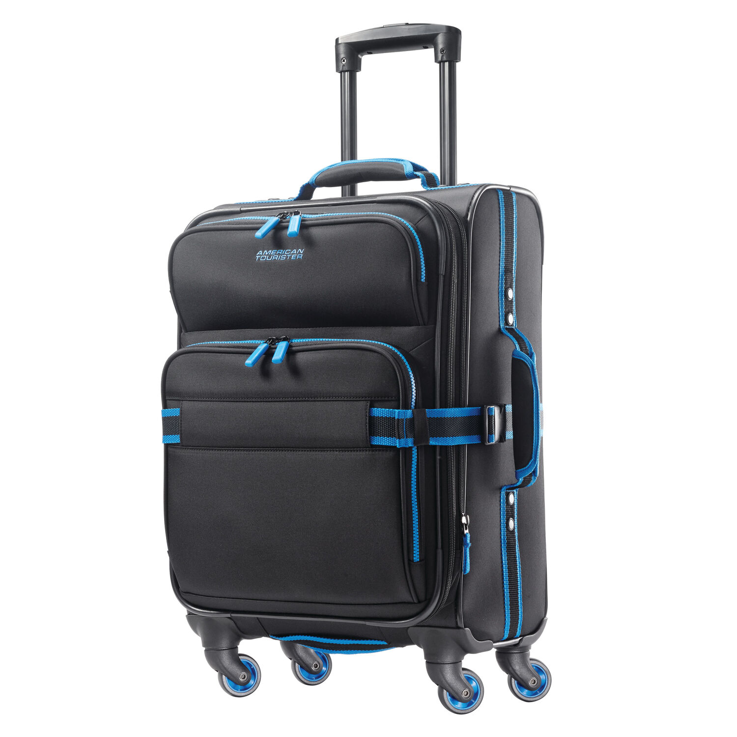"""American Tourister EXO Eclipse 20"""" Spinner in the color Black/Blue."""