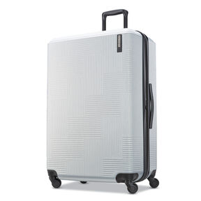"American Tourister Stratum XLT 28"" Spinner in the color Brushed Silver."
